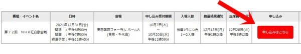 NHK紅白2021観覧募集